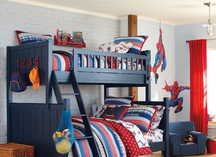 Bedroom decorating ideas for twins with spiderman