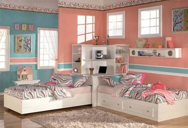 colorful bedroom design idea for twin girls