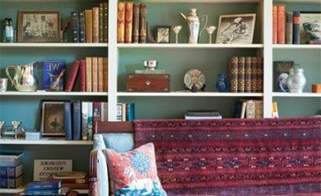 colorful living room design with bookself