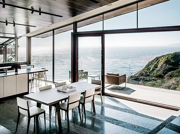 dining room design with ocean view