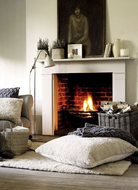 interior design with fireplace and pillows