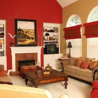 Creative red living room designs for Good colours for living room