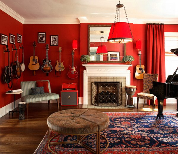 living room design with red wall