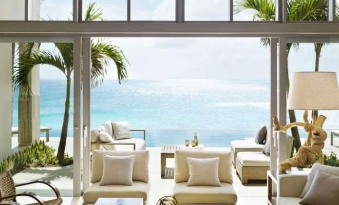 modern dining room design with ocean view