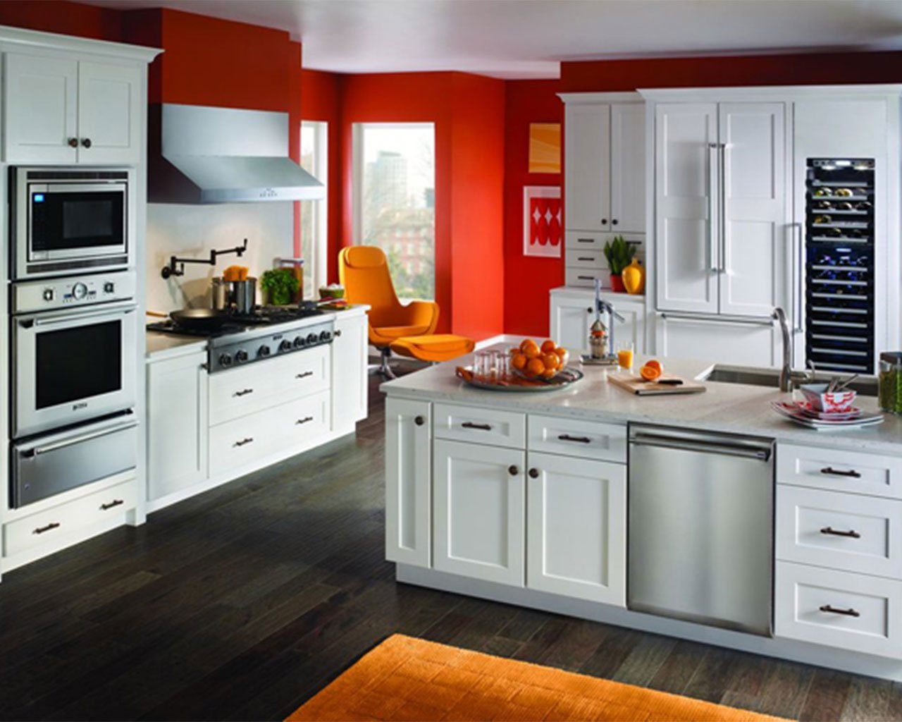 modern red and white colored kitchen design