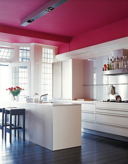 pink and white color combination kitchen