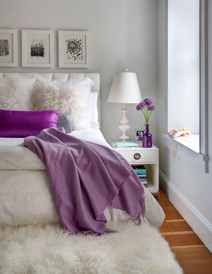 purple and white bedroom designed with feminine style