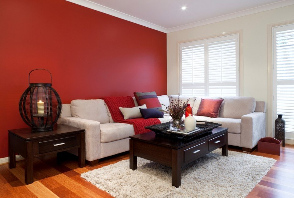 Red and white colored living room