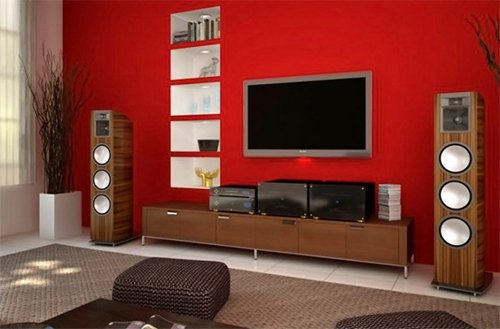 red colored living room design with tv unit