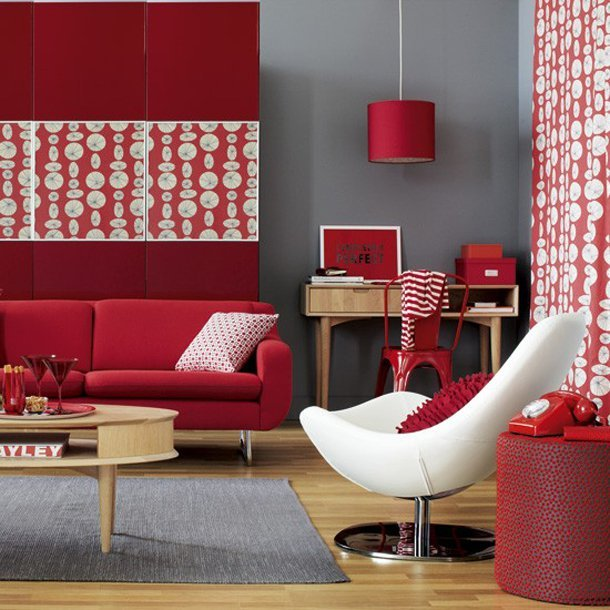 red living room design with accessories