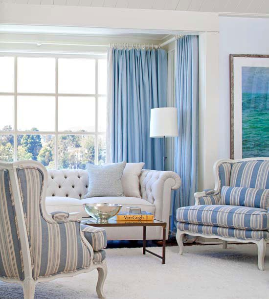 small blue colored modern living room design
