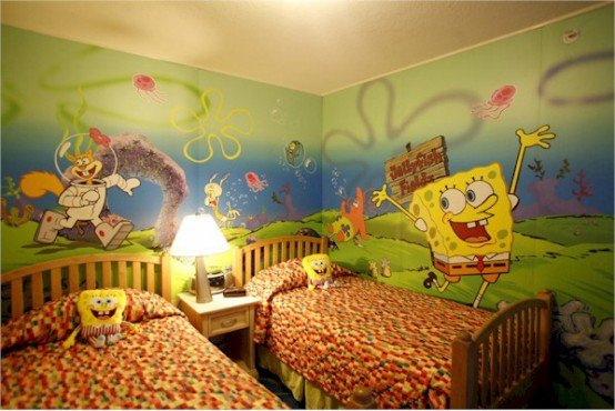 Sponge Bob Themed Kids Room And Wall Design