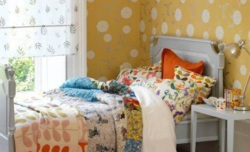very colorful vintage bedroom