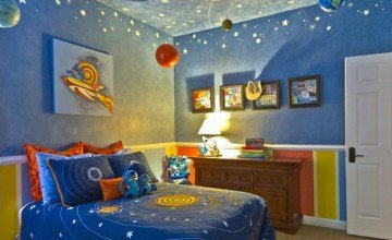very creative space themed kids room