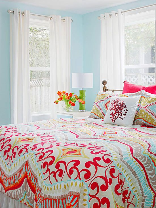 very cute colored bedroom design