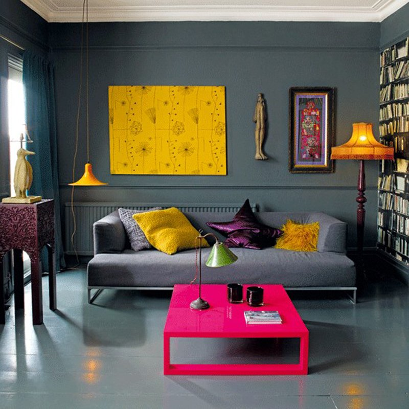 Modern and colorful living room design at the same time