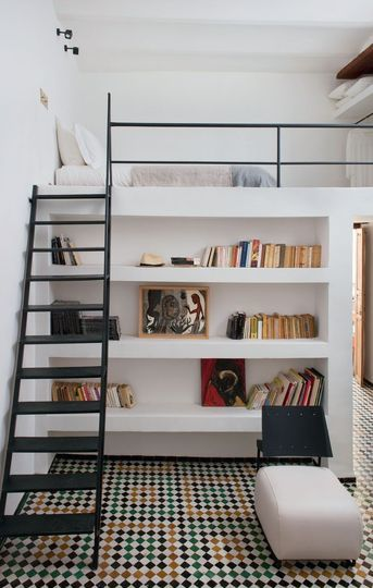 white bookcase design for small flats