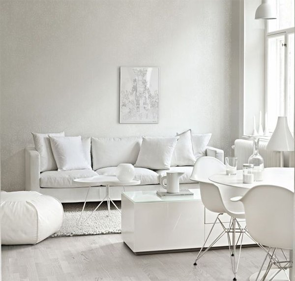 The all white living room for White minimalist living room