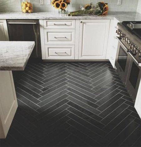 black kitchen flooring