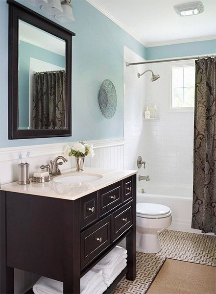 blue and brown bath light blue walls set the stage for a trendy brown