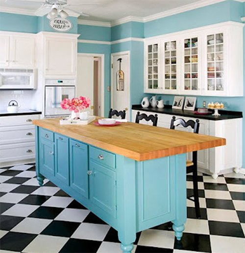 blue retro kitchen