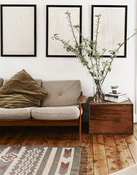 calming living room design with beautiful rug