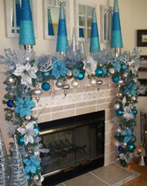christmas decorating with blue color
