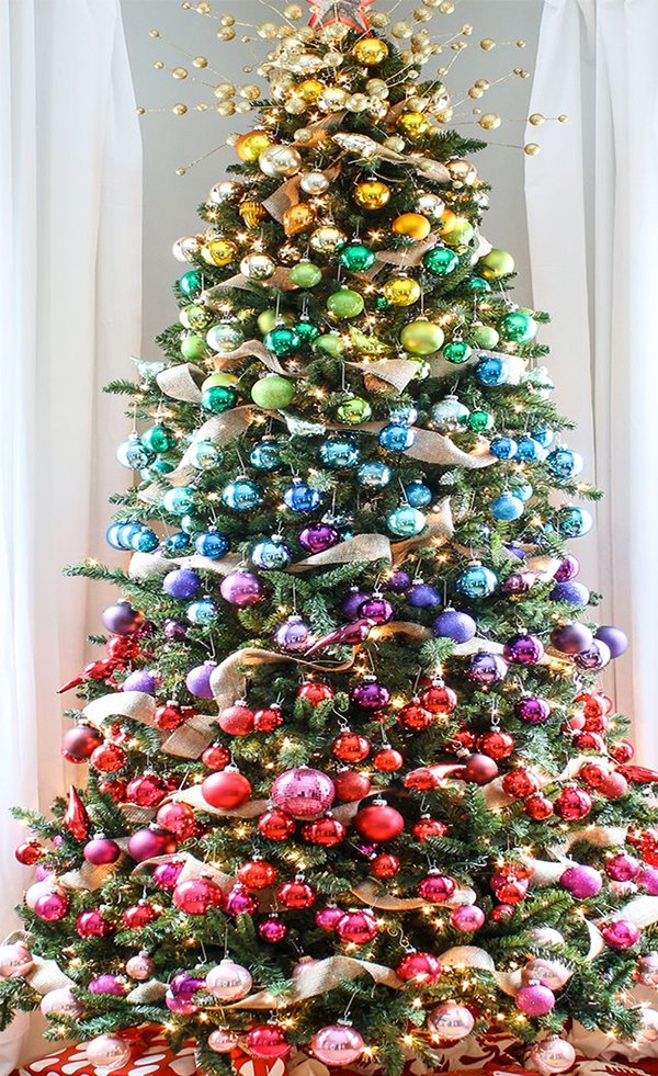 christmas tree decorating with vintage ornaments