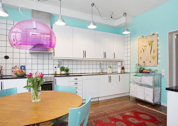 colorful and chic scandinavian kitchen