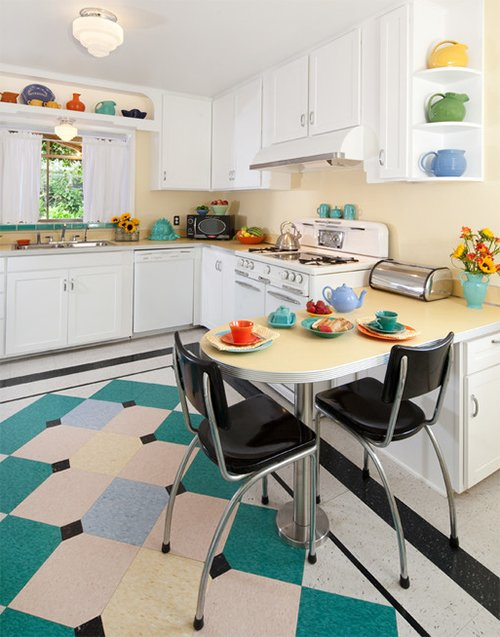 colorful small kitchen retro style designed