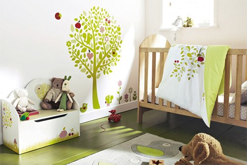 cute nursery design with green tones