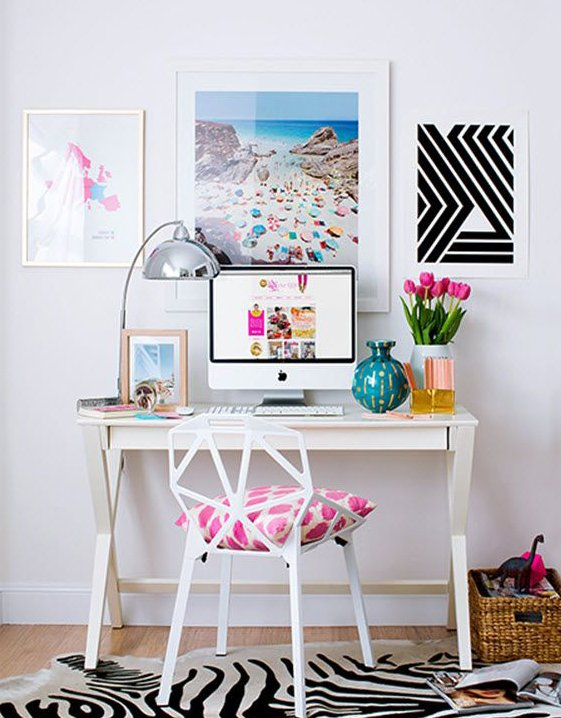 home office design with creative wall