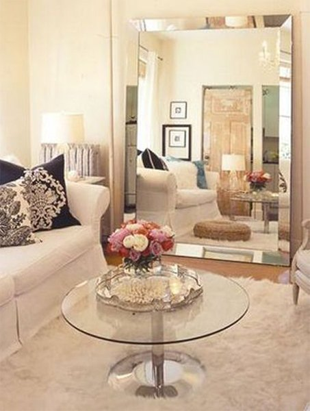 living room design with mirror