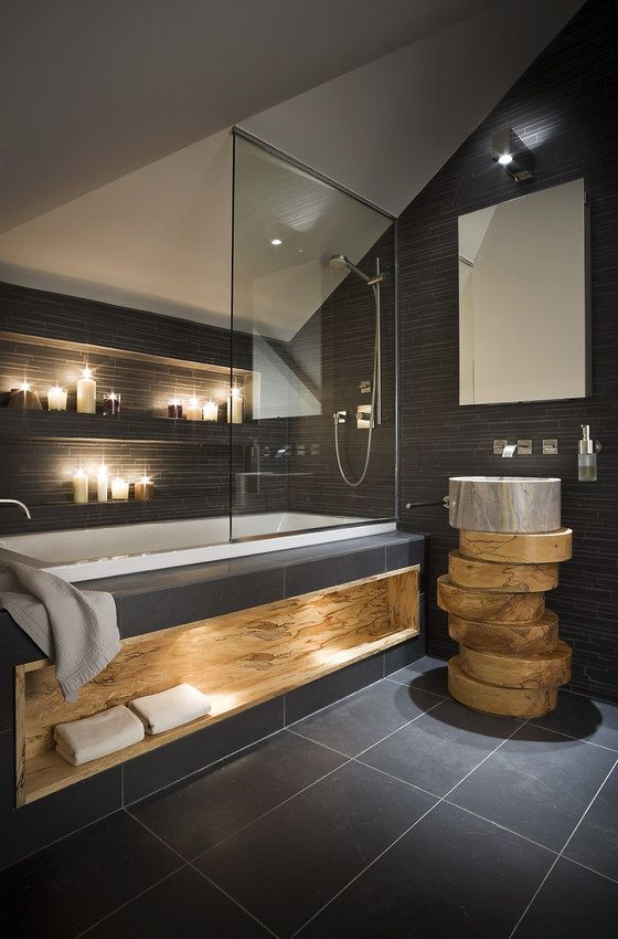 modern bath tub design with dark bathroom