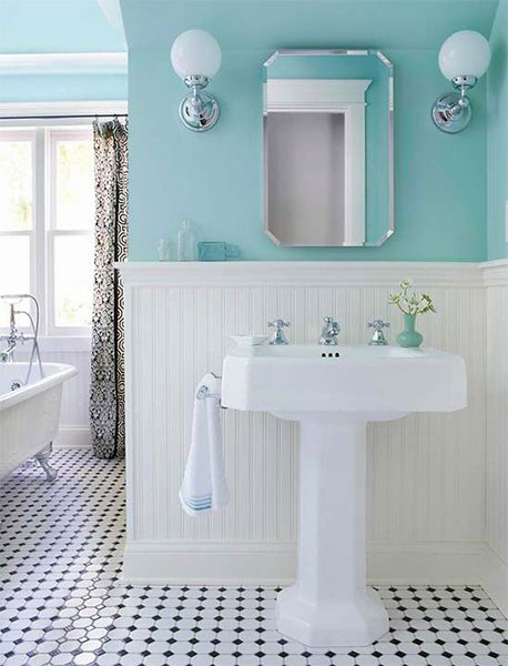 Modern Bathroom Design With Blue Color