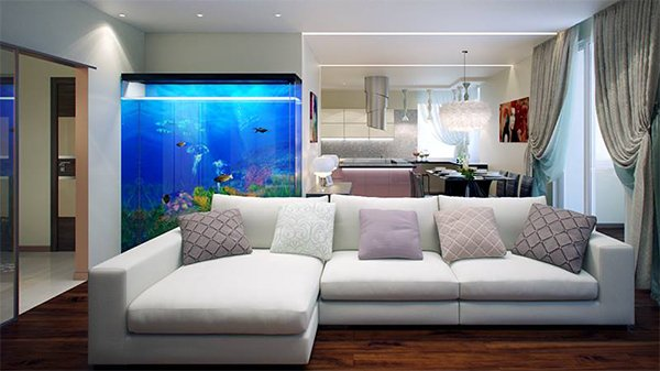 modern interior design with aquarium