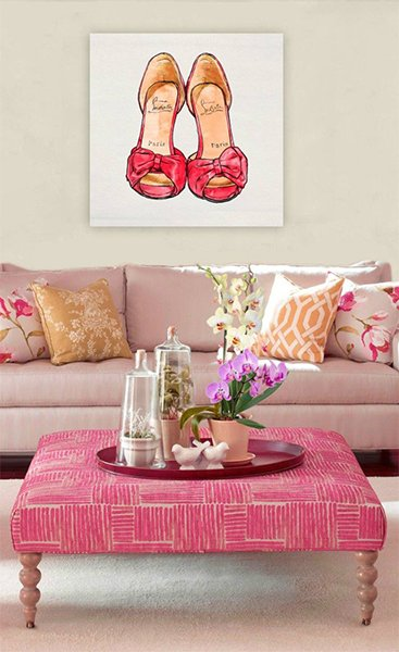 pink feminine living room design