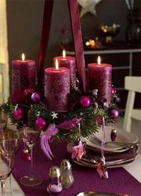purple christmas centerpiece with candles