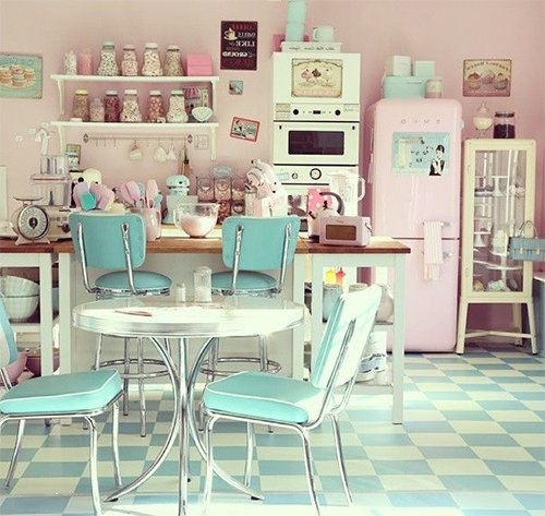 retro kitchen designed with pastel tones