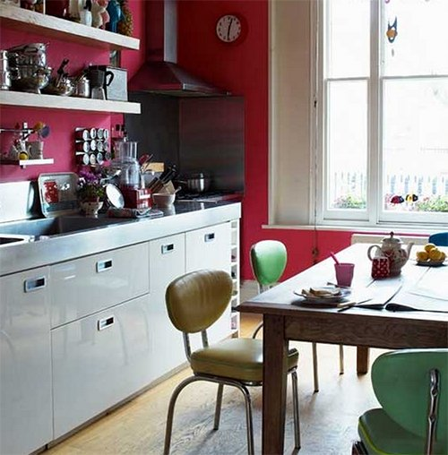 small colorful vintage kitchen