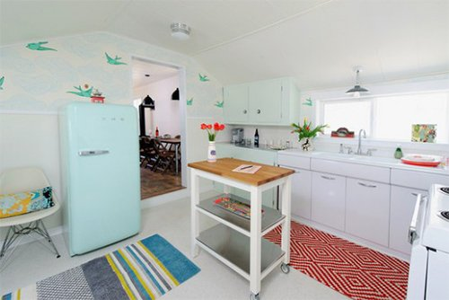 small kitchen design with pastel tones