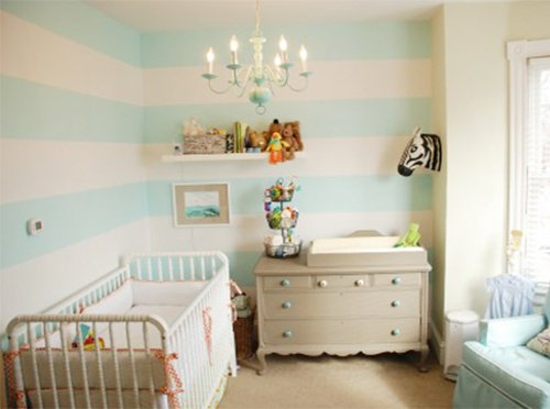 small room designed with horizontal wall paint