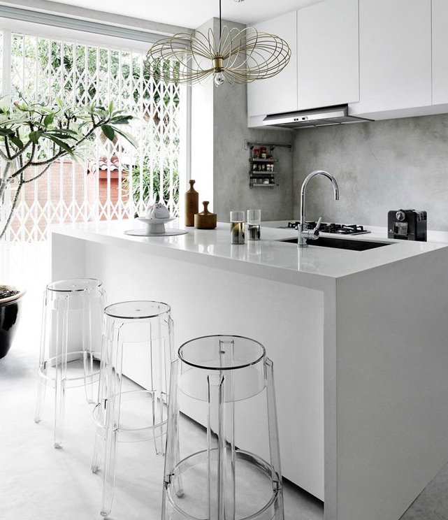 small,white and modern kitchen