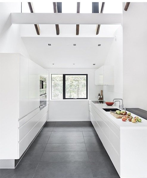 very luxury snow-white kitchen