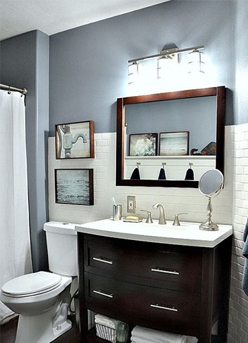 very modern small colored bathroom