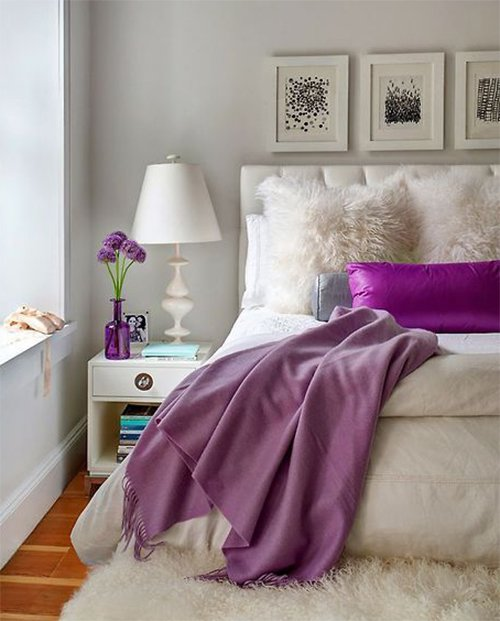 white and purple colored feminine bedroom