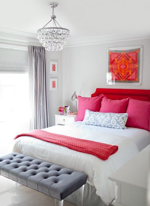 white and red creative bedroom design