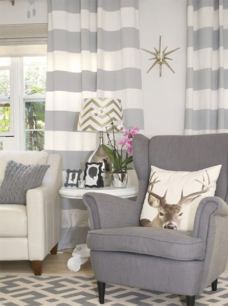 white gray curtain design for living room