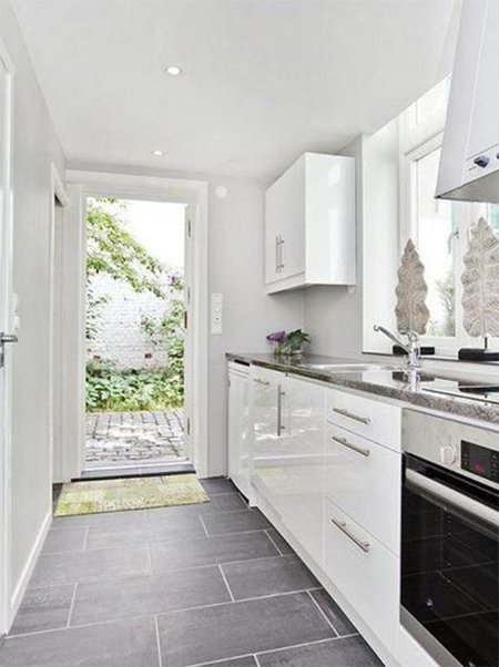 white kitchen flooring