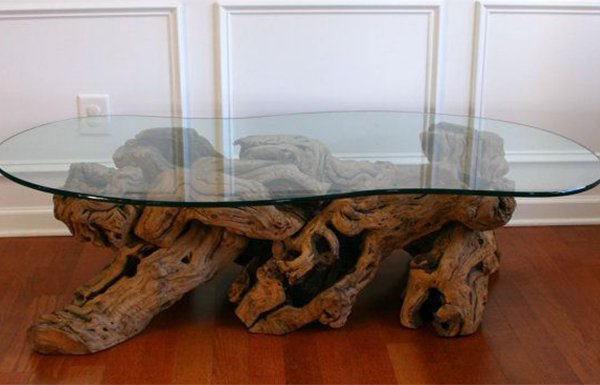 chic glass table for living room decoration